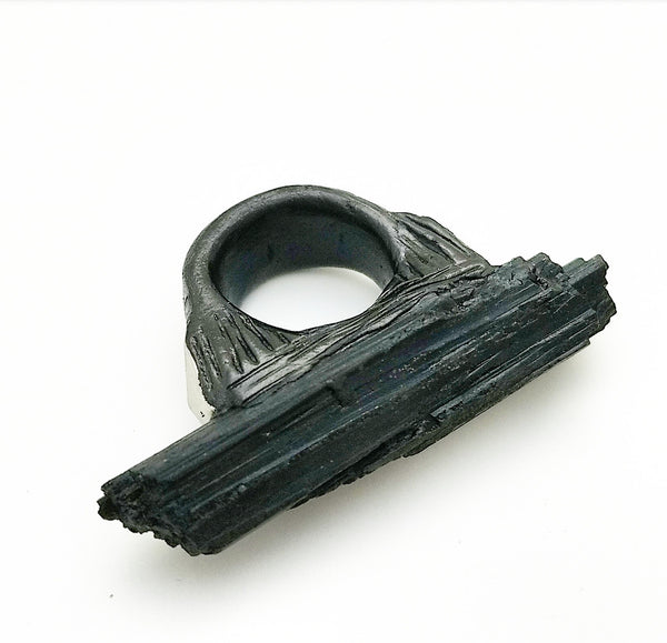 BLACK TOURMALINE: Size 5.5 Ring