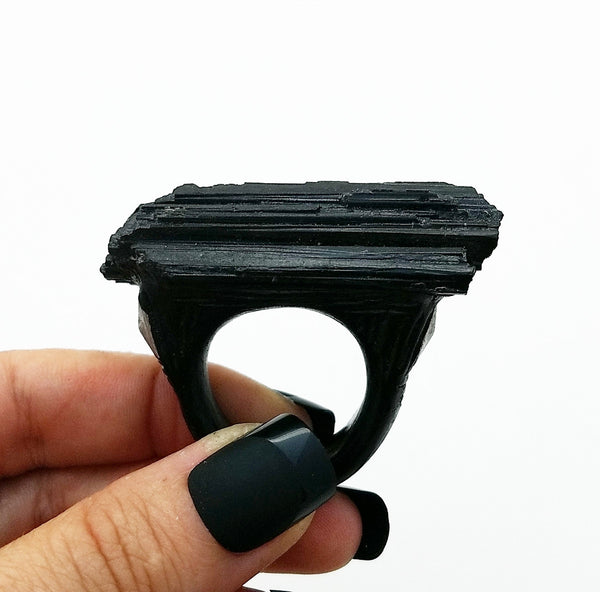 BLACK TOURMALINE: Size 11.5 Ring