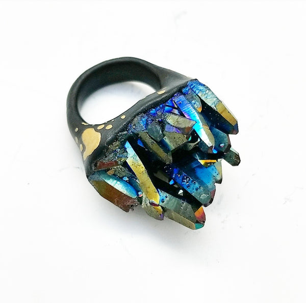 RAINBOW TITANIUM QUARTZ: Size 7.5 Ring