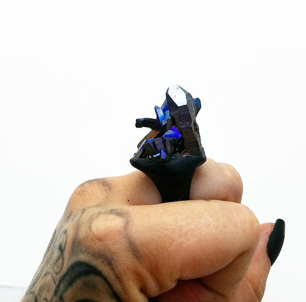 COBALT TITANIUM SMOKY QUARTZ: Size 7.5 Ring