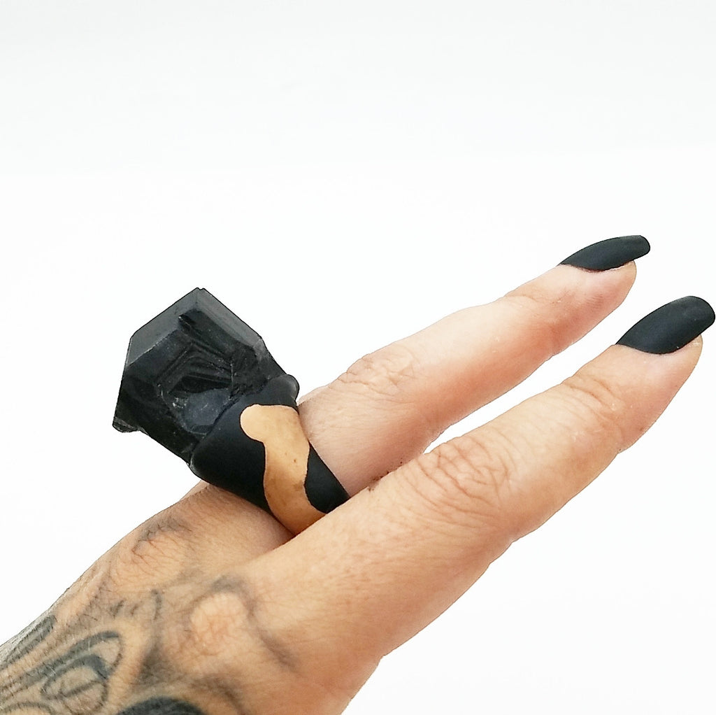 BLACK TOURMALINE: Size 7.5 Ring