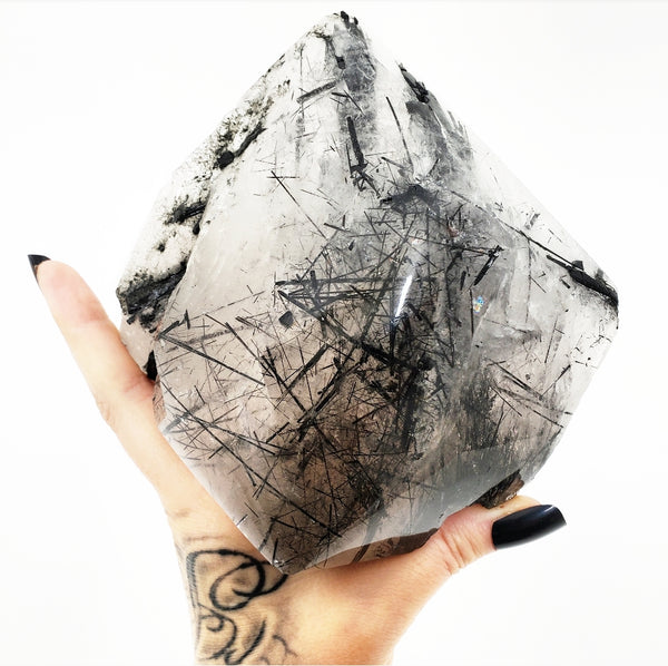 Black Tourmaline included Clear Quartz