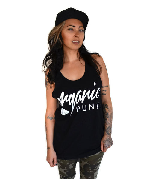 Sale! ORGANIC PUNK LOGO: relaxed fit unisex tank top