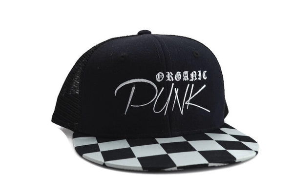 Organic Punk Checkerboard Snapback Hat / trucker