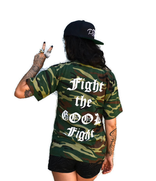 Sale! FIGHT THE GOOD FIGHT: unisex Camo T-shirt