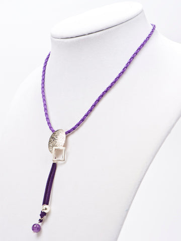 Purple Leather Necklace