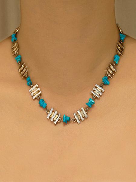 Turquoise & Small Silver Bars Necklace