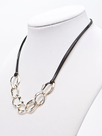 Silver Links & Leather Necklace