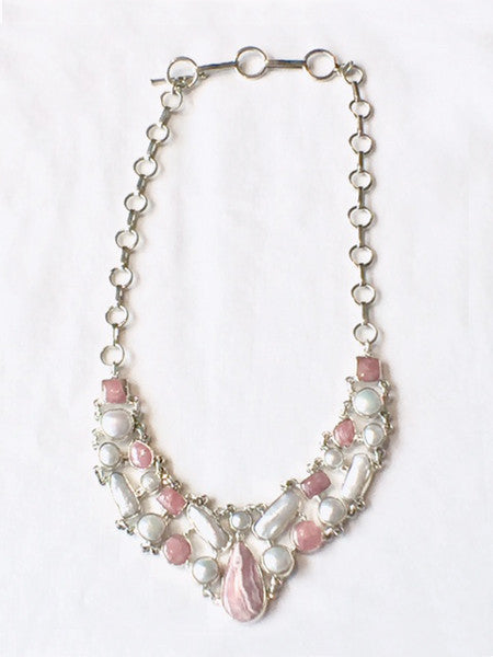 Rhodochrosite and Pearls Necklace
