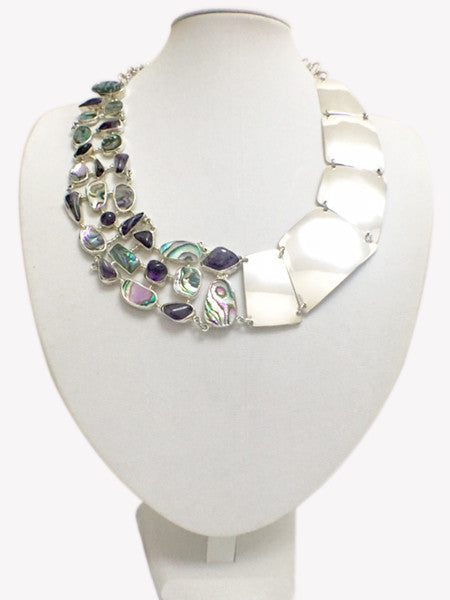 Abalone, Amethyst and Silver Necklace