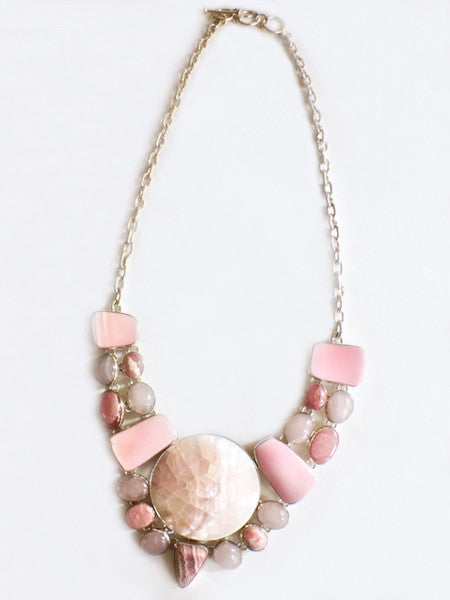 Pink Quartz & Rhodonite Necklace