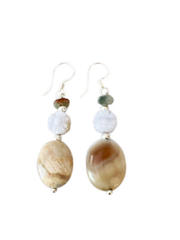 Agate and Pearl Earrings