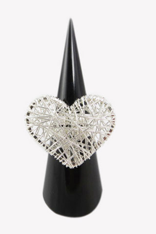 Silver Strings Heart Ring