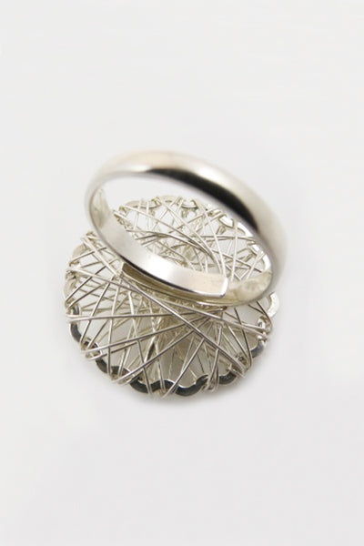 Silver Strings Circular Ring