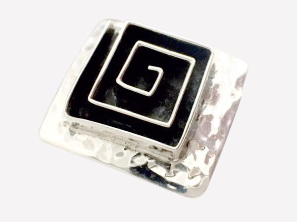 Oxidized Hammered Square Ring