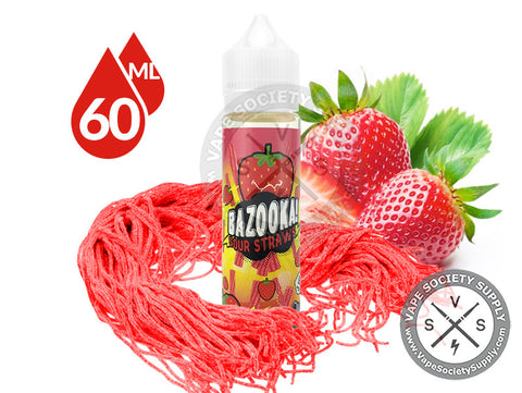 Strawberry Sour Straws by Bazooka Sour Straws 60ml