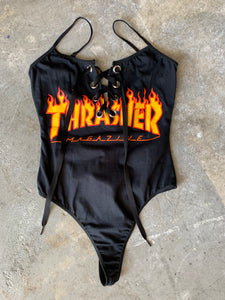 Lace-up Flame Bodysuit Small/Medium