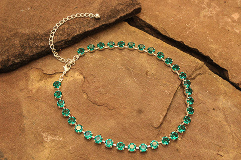 Swarovski Crystal Emerald Gold Necklace