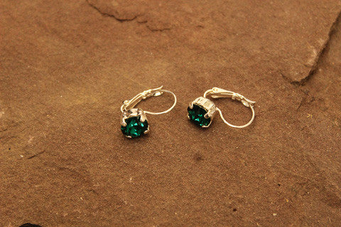 Swarovski Crystal Emerald Gold Earrings