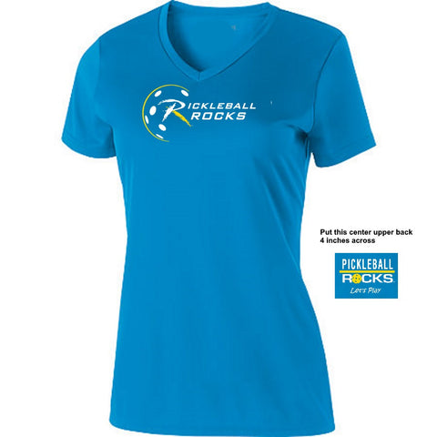 Ladies Bright Blue Pickleball Rocks V-Neck Short Sleeve