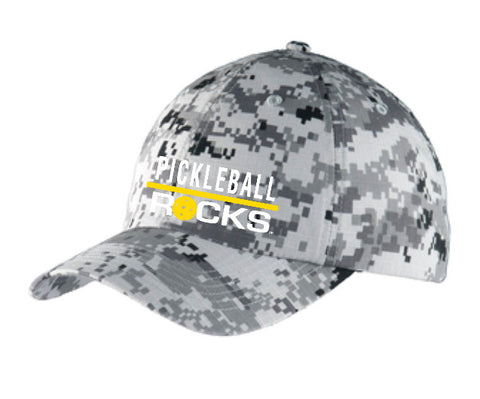 Grey Digital Camo Pickleball Rocks Unstructured Hat