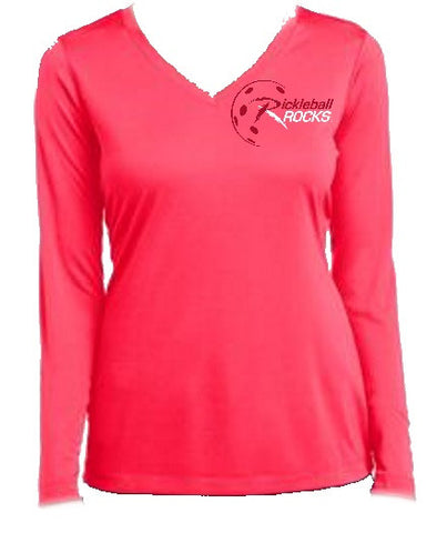 Hot Coral Ladies Dri Fit Long Sleeve Shirt