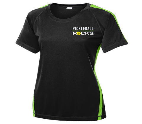 Ladies Black Dri Fit With Lime Green Trim