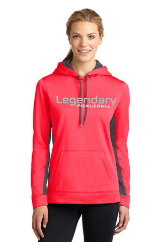 Legendary Womens Lightweight Pullover Hoodie Hooded Sweatshirt - Hot Coral and Smoke Grey
