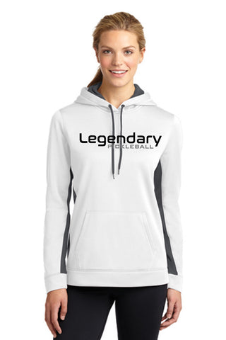 Legendary Womens Lightweight Pullover Hoodie Hooded Sweatshirt - White and Smoke Grey