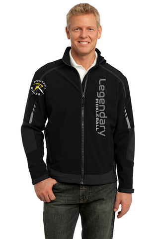Legendary Pickleball Mens Soft Shell Super Warm Jacket - Black/Iron Grey