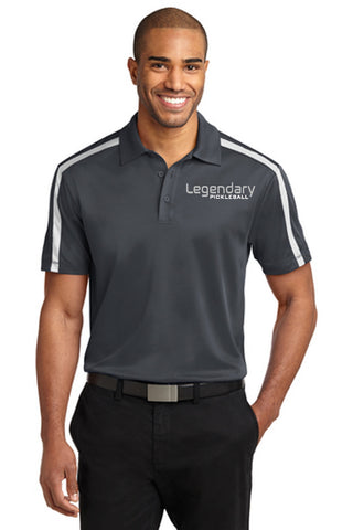 Legendary Mens Silk Touch Performance Dri-Fit Polo Shirt - Steel Grey and White