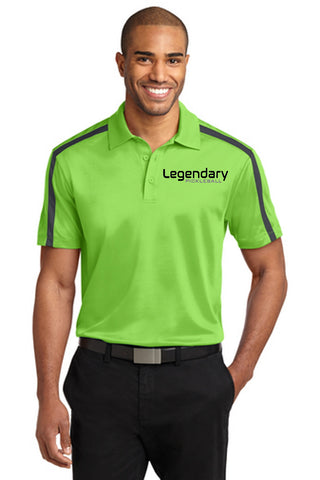 Legendary Mens Silk Touch Performance Dri-Fit Polo Shirt - Lime and Grey