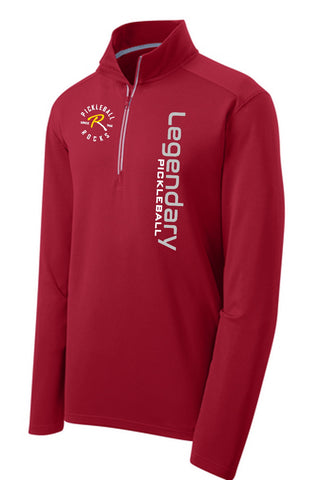 Legendary Pickleball Mens Textured Quarter Zip - Dark Red