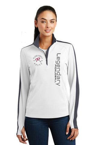 Legendary Pickleball Womens Textured Quarter Zip - White and Grey