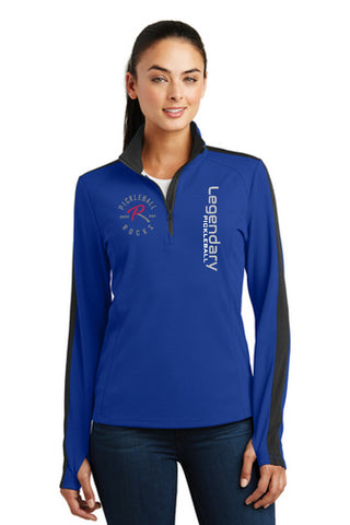 Legendary Pickleball Womens Textured Quarter Zip - Royal Blue and Black
