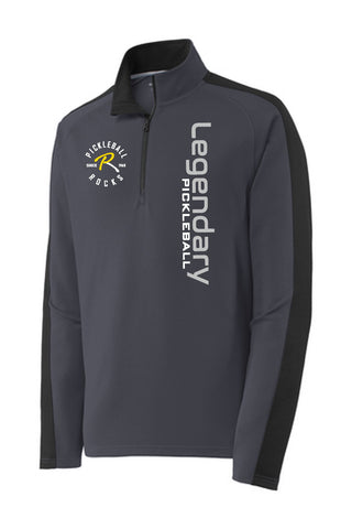 Legendary Pickleball Mens Textured Quarter Zip - Grey and Black