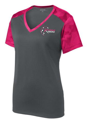 Gray with Pink Raspberry Trim Ladies Dri Fit Shirt