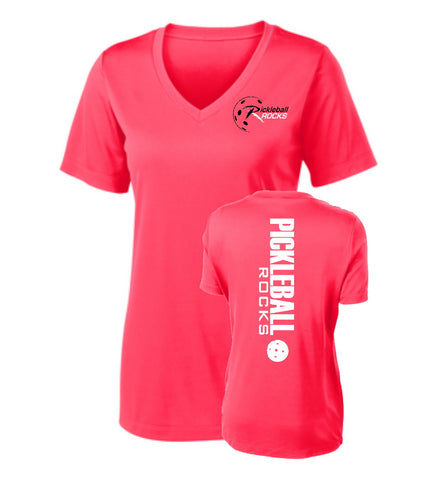 Ladies Hot Coral Pickleball Rocks V-Neck Short Sleeve
