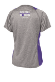 Ladies Grey and Purple Indian Wells Nationas Pickleball Rocks V-Neck Short Sleeve