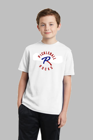 Pickleball Rocks Dri Fit Tshirt - Youth White