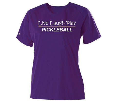 Live Laugh Play Pickleball Purple Dri-fit