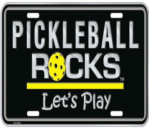 Pickleball Rocks Black License Plate