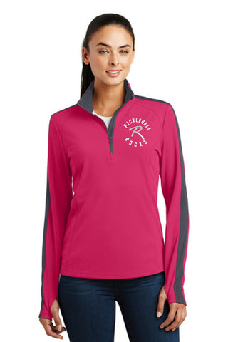 Pickleball Rocks Womens Textured Quarter Zip - Raspberry and Grey