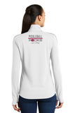 Pickleball Rocks Womens Textured Quarter Zip - White and Grey