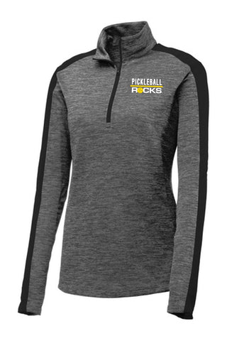 1/4 Zip Ladies Gray/Heather Dri Fit Long Sleeve Shirt