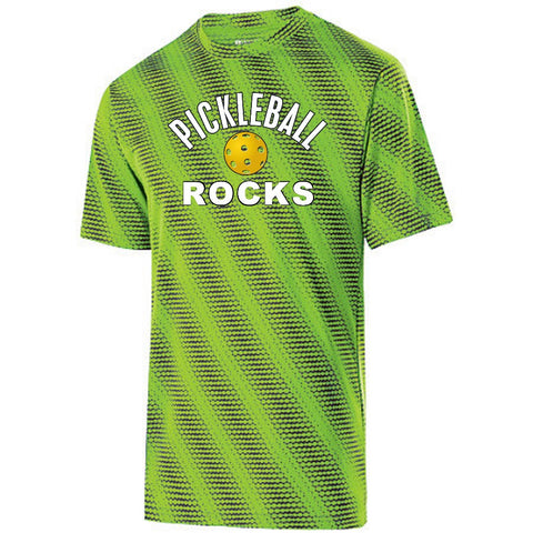Men's Lime Green Pickleball Rocks Dri Fit Short Sleeve Shirt