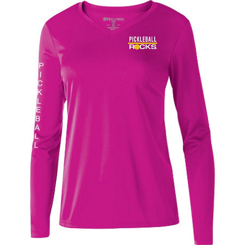 Pickleball Long Sleeve Power Pink Shirt V-Neck
