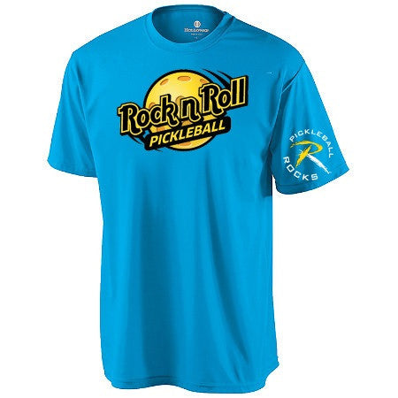 Rock N Roll Pickleball Dri Fit Performance Shirt Bright Blue