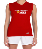 Red Sleeveless Pickleball Rocks Dri Fit Shirt