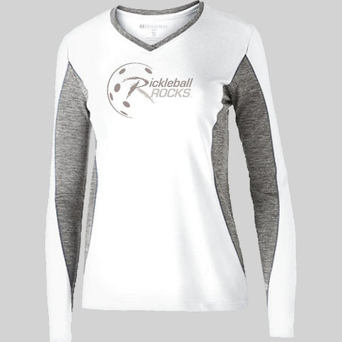 Lady's White Dri Fit Long Sleeve Shirt